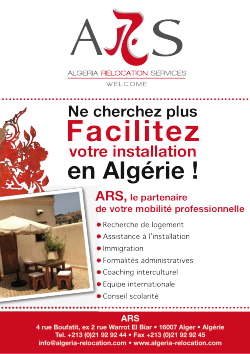 ALGERIA RELOCATION SERVICES in e-Bienvenue à Alger